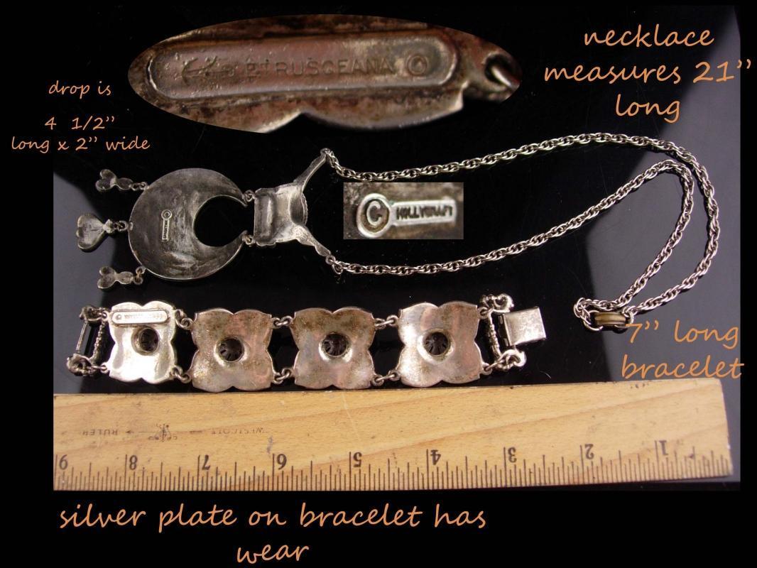 Vintage Etruscan necklace / etrusceana bracelet / hollycraft gypsy necklace / egyptian revival jewelry / silver ethnic necklace