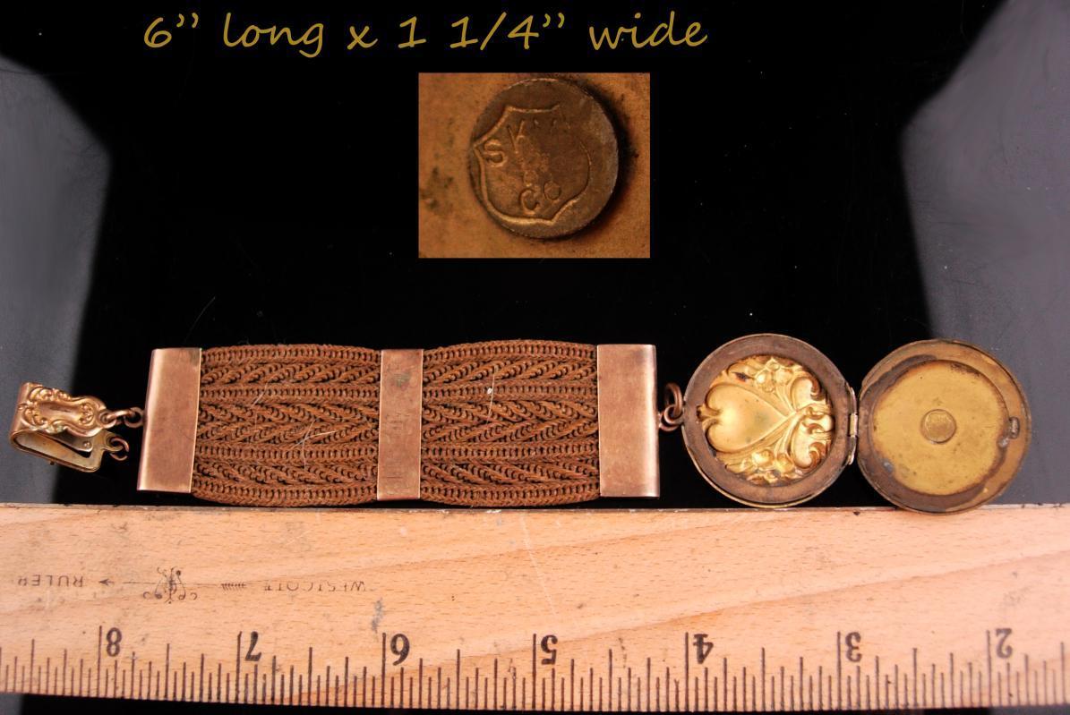 Antique Locket / Victorian memorial HAIR fob / September 22 1902 / Heart locket / watch chain / Dated / sweetheart heart front