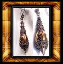 Vintage Rose gold etruscan silver drop earrings