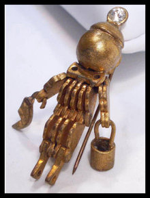 Steampunk  brooch Vintage robot  Signed  ARTS Crafts MECHANICAL figural