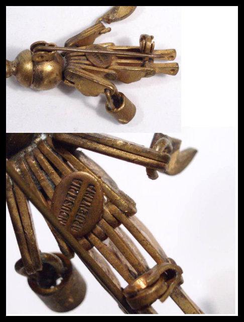 Steampunk  brooch Vintage robot  Signed  ARTS Crafts MECHANICAL figural