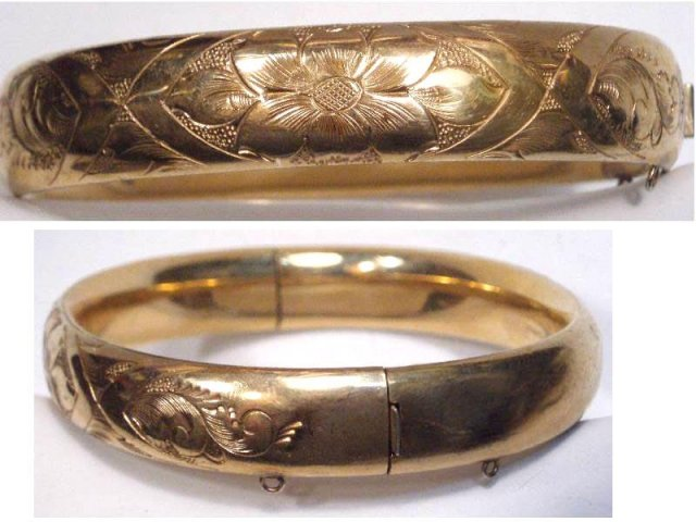 Victorian Gold filled fancy bangle bracelet
