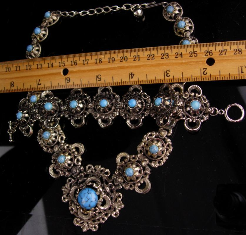Antique Victorian necklace / Turquoise Bracelet / Vintage fancy metal work / statement jewelry / victorian revival bracelet necklace set