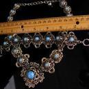 Antique Victorian necklace / Turquoise Bracelet / Vintage fancy metal work / statement jewelry / victorian revival bracelet necklace set