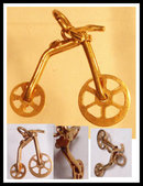 Vintage MEchanical Unicycle 14kt GOLD  CHARM