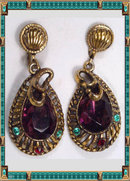 Vintage Edwardian  Jeweled Snake drop earrings