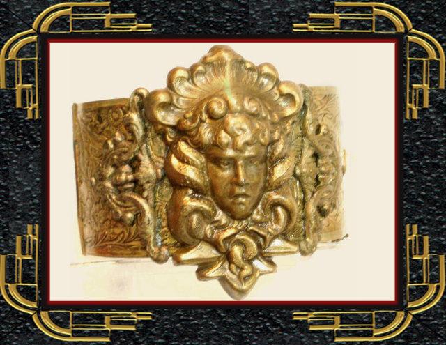 GORGEOUS Vintage Medusa Snake bracelet Wide art nouveau relief hinged bangleMedusa Snake bracelet