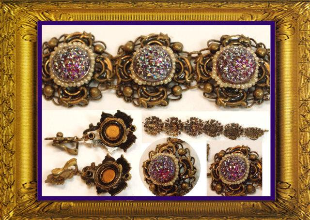 Vintage DECO Signed Queens jewels Parure