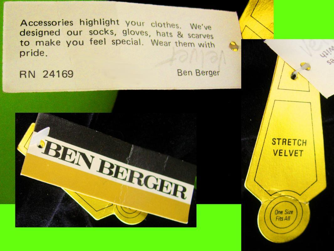 Vintage long velvet gloves - Ben Berger - original tags - 16