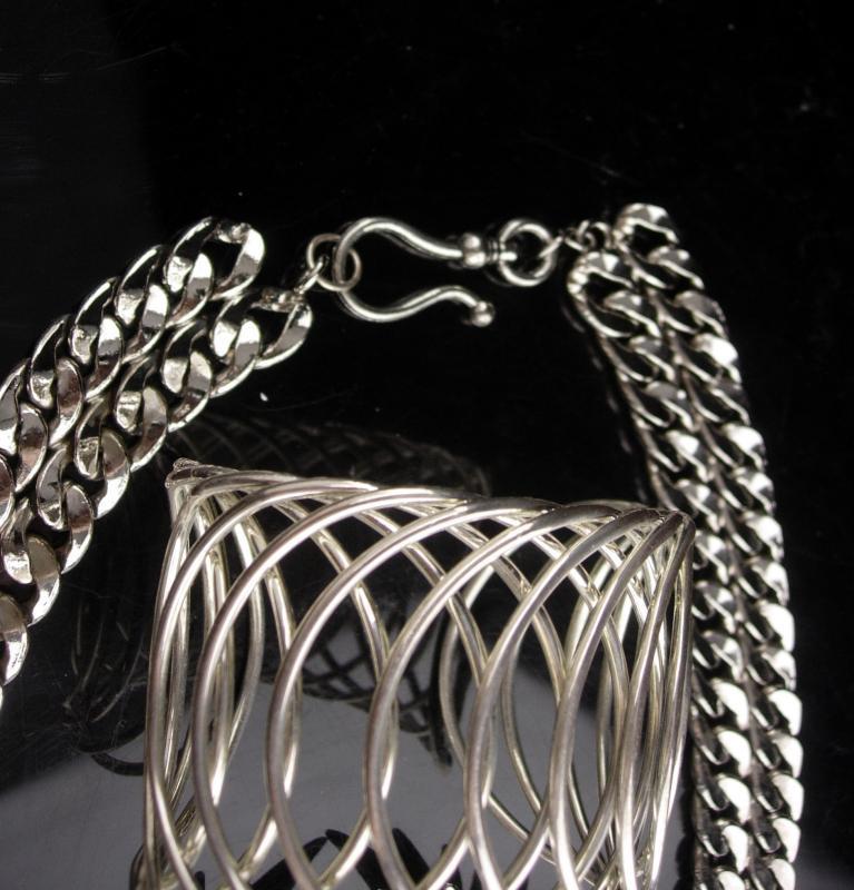 Huge runway necklace - oversize cuff bracelet - Wing earrings - modernist jewelry / vintage parure - silver artist - rhinestone choker