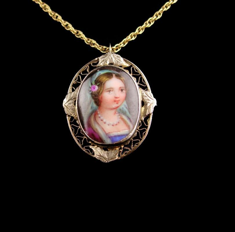 Antique 19th century Portrait necklace - 14kt gold pendant - Miniature Framed painting - victorian necklace - handpainted portrait
