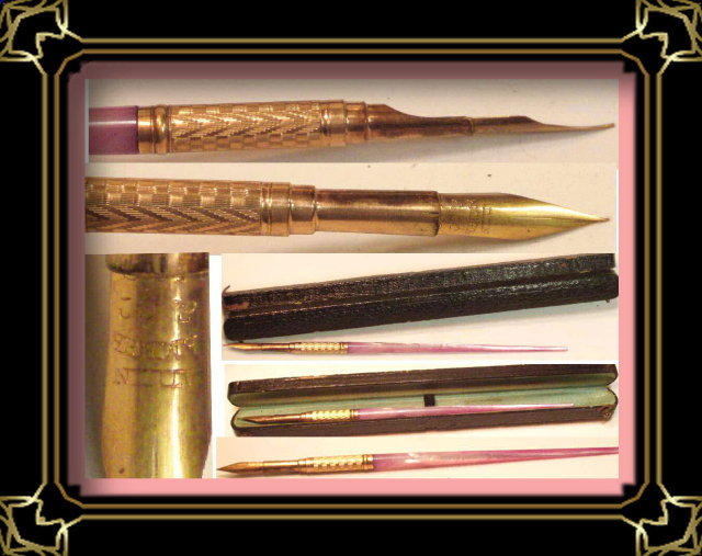 19th century PINK Victorian Dip quill pen &case