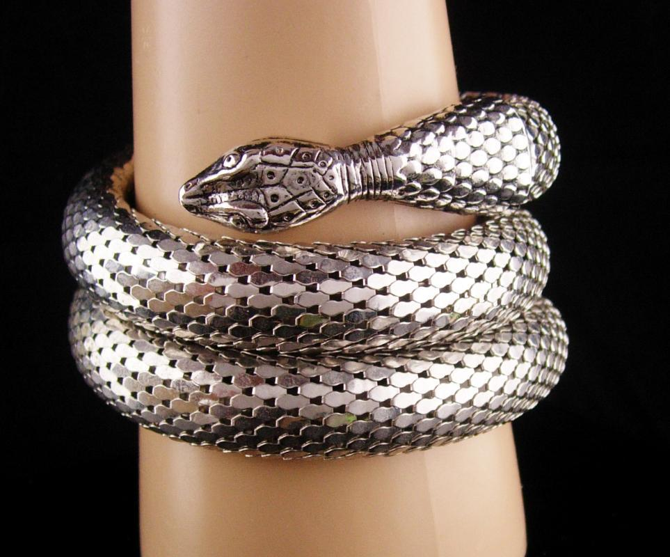 Whiting & Davis Snake Bracelet - Large silver 3 coils -  Vintage serpent wrap - Cleopatra's delight - Wide mesh coils - signed jewelry