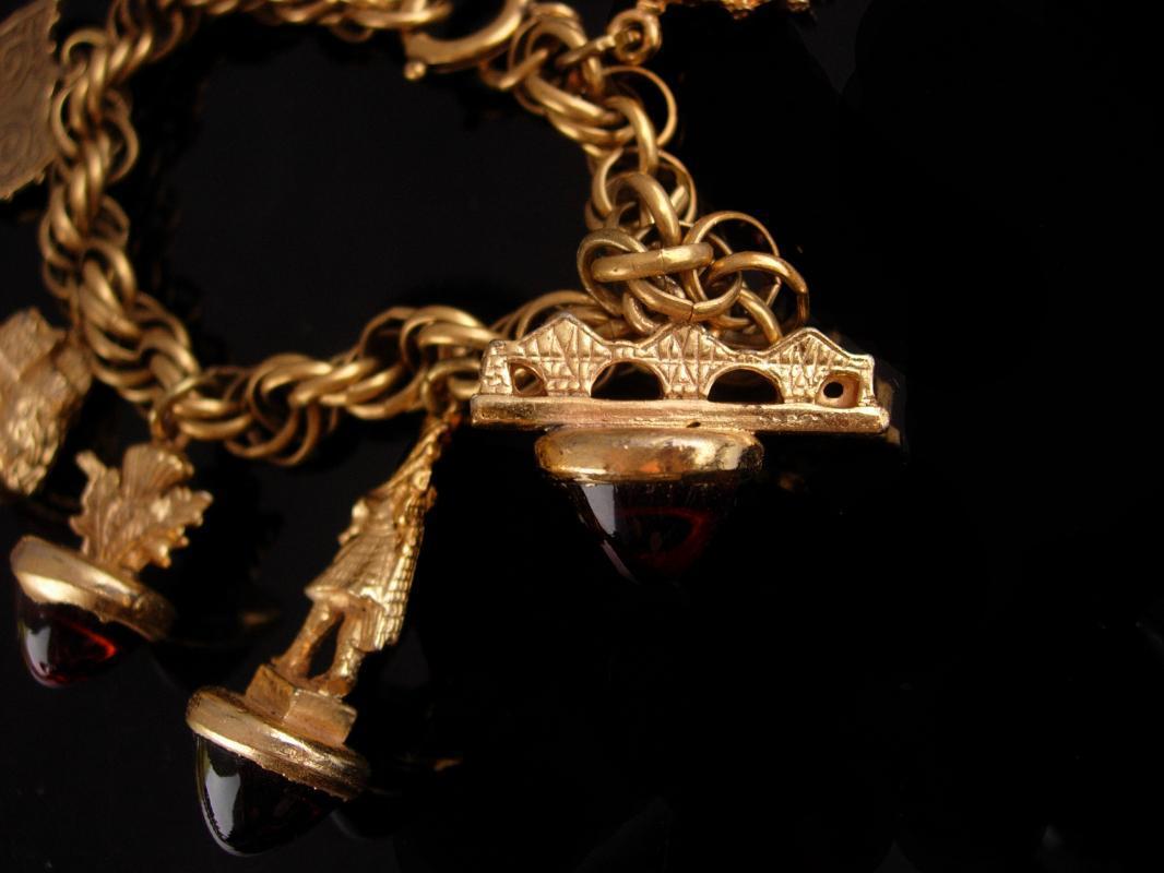 Victorian Fob bracelet - Scottish sweetheart jewelry - vintage Charm Bracelet - Medieval Fob - bagpipes charm - Fleur de lis - kilt charm