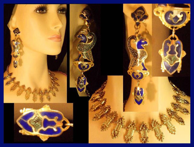 EXOTIC DECO Enamel Scarab earrings necklace