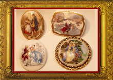 4 Victorian porcelain portrait brooches UNUSUAL