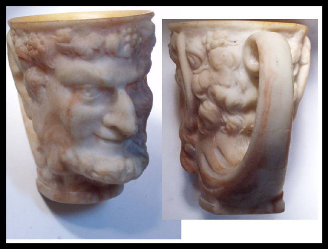BIZARRE Devil Satyr carved marble Pan Mythical