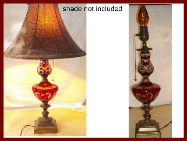 Antique cranberry glass tall pull chain lamp