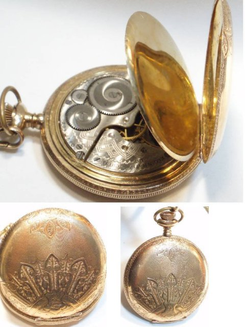1898 ELGIN 10kt rose gold Pocketwatch & FOb