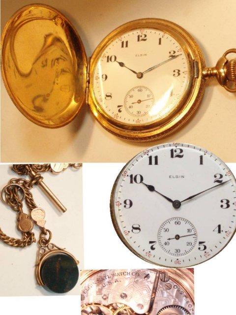 1898 ELGIN 10kt rose gold Pocketwatch & FOb