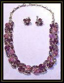 Glitz Vintage Fruit salad SIGNED PURPLE Parure