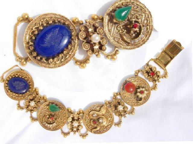 Gothic jewel snake Cameo bookchain bracelet