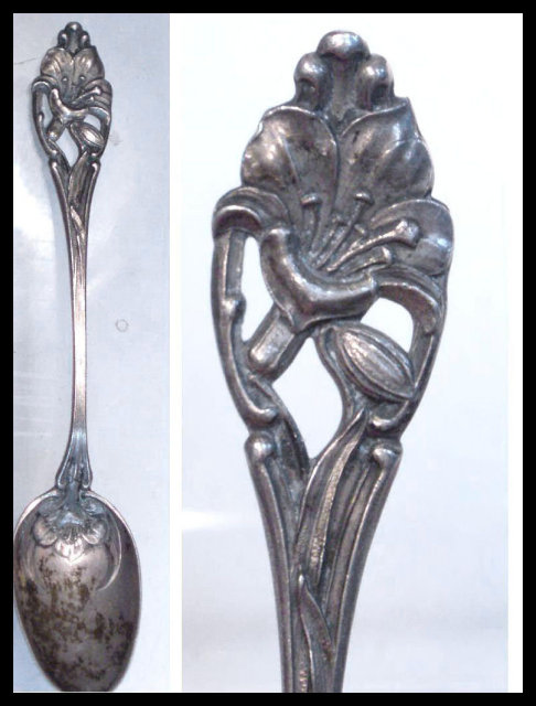 Antique memorial Calla lily Sterling demitasse Spoon