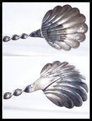 Antique sterling barley twist shell fancy spoon
