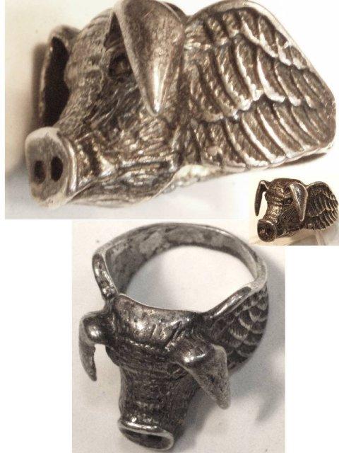 14gm STERLING Ring  bizarre WILD BOAR PIG figural wings