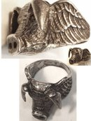 14gm STERLING Ring  bizarre WILD BOAR PIG figural wings