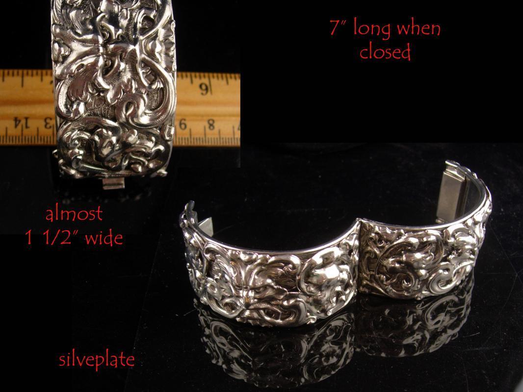 Medieval Bracelet  - Bacchus Relief - Vintage WIDE silver bangle - mythical gargoyles - wide hinged bracelet