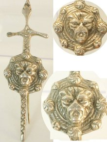 Victorian sterling hallmark LION SIGNED brooch
