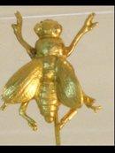 Vintage Bizarre Gorham gold silver FLY  figural STICKPIN