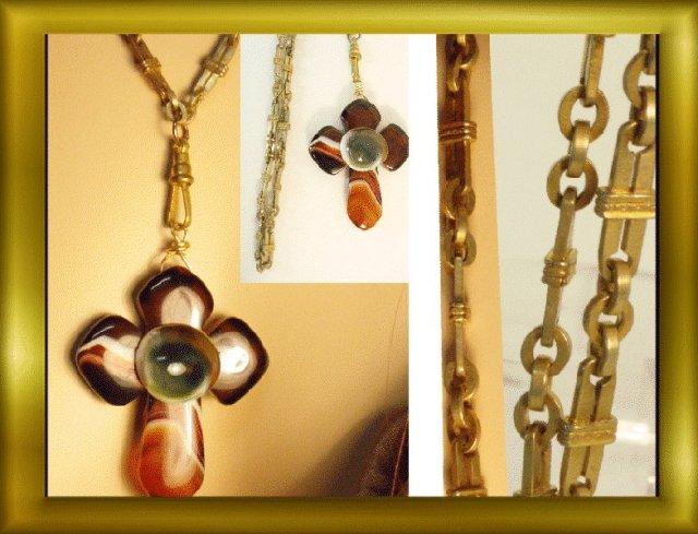 Bizarre Evil Eye victorian agate Cross necklace