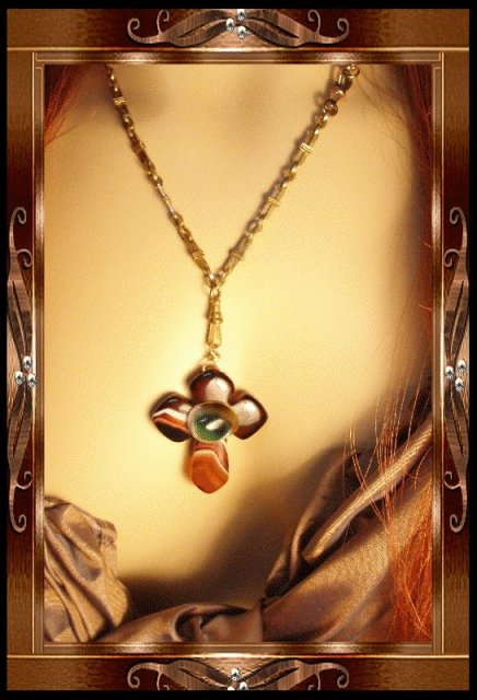 Bizarre Evil Eye victorian agate Cross necklace