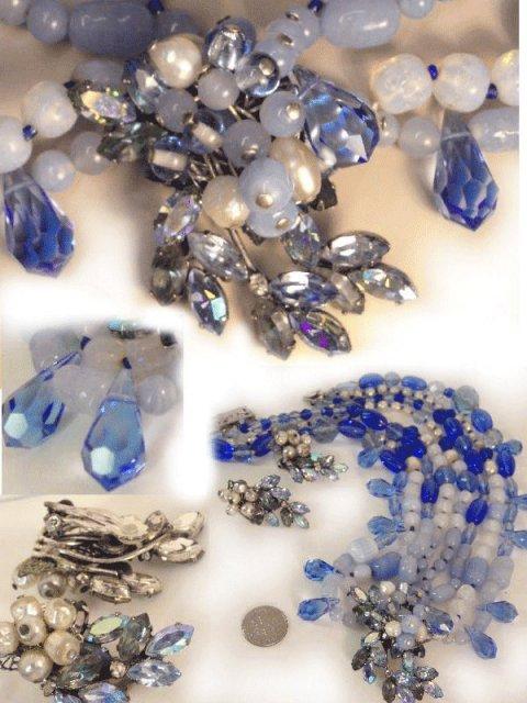 Signed baroque ROBERT GLASS  necklace & ER