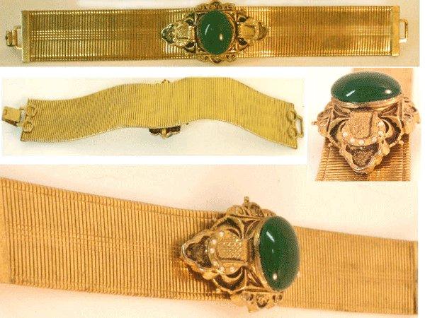 Antique Edwardian Mesh jeweled enamel bracelet
