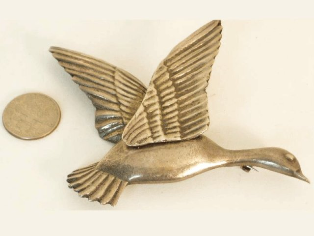 HUGE vintage sterling 32gram BIRD goose BRooch