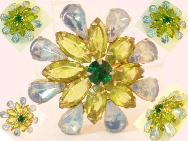 Vintage Juliana UNUSUAL Tear drop glass brooch