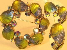 Vintage Glowing HUE FRUIT salad AB Foil Brooch