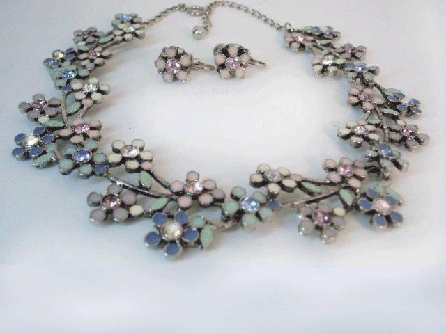 Vintage enamel rhinestone Grapevine necklace ER