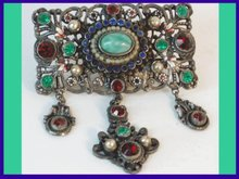 Antique AustroHungarian jewel chatelaine brooch