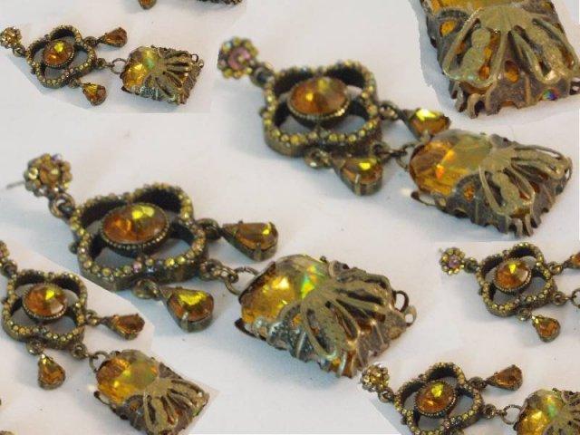 Chandelier glass filigree fancy  drop earrings