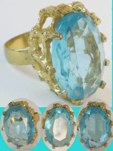 HUGE Hollywood GLITZ AQUA GLASS DIVA RING!!