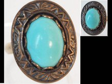 Vintage  relief turquoise cabachon Deco ring