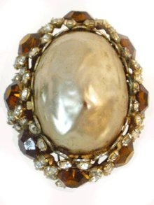 Huge Haskelish Baroque rhinestone Vintage Ring