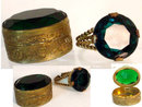 Vintage DECO Czech Snuff box & GLASS RING set