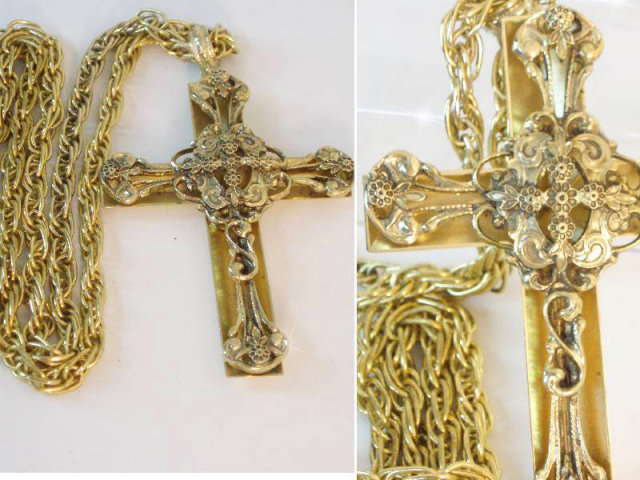 Medieval HUGE Fabulous signed  filigree Cross