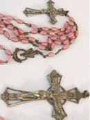 Antique Victorian cased  cranberry glass Rosary
