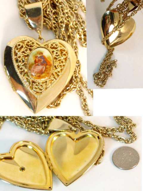 Vintage victorian portrait locket three chain swag necklace